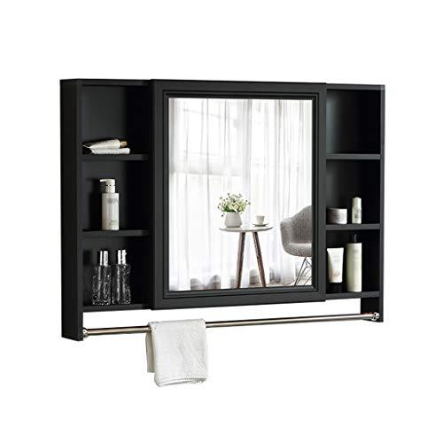 LAXF-Mirrors Bathroom Cabinet with Towel Rod, Mirror Cabinet, Wall Cabinet, Single Door Cabinet, Bathroom Hanging Cabinet, Medicine Cabinet, Wall Mount Storage Shelf, Black