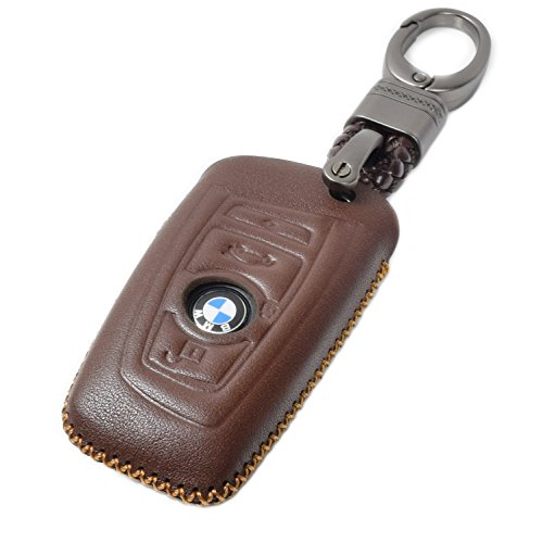 Vitodeco BMW Leather Smart Key Keyless Remote Entry Fob Case Cover with a Key Chain for BMW 1, 3, 4, 5, 6, 7 Series, X1, X3 (4 Buttons, ()