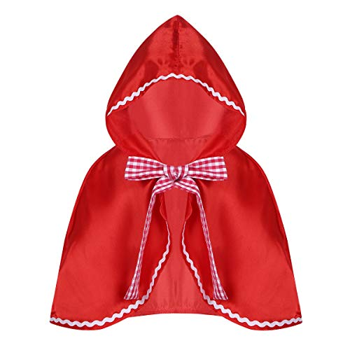 dPois Toddler Kids Girls' Little Red Riding Hood Cloak Cape Halloween Cosplay Party Fancy Dress Up Red S-M -