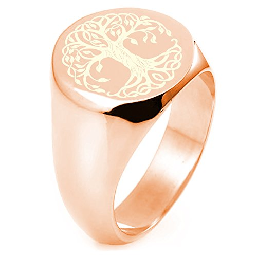 Rose Gold Sterling Silver Celtic Knot Tree of Life Symbol Engraved Round Flat Top Polished Ring, Size - Top Flat Round