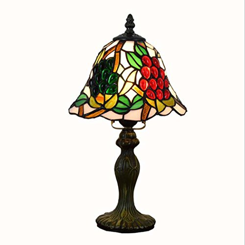 Tiffany Style Table Lamp ,8-inch Grape Design Desk Lamp For Room Bedroom Bedside
