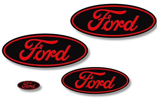 Factory Crafts Ford F-150 2009-2014 Front, Rear, and Steering Wheel Ford Oval Overlays Graphics Kit 3M Vinyl Decal Wrap - Matte Black and Dark Red