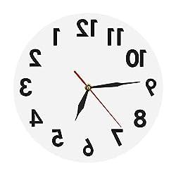The Geeky Days Backwards Wall Clock Modern Reverse Wall Clock Creative Art Wall Decor Digital Time Clock Home Decor Art Round Shape Wall Clocks