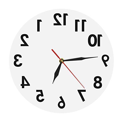 (The Geeky Days Backwards Wall Clock Modern Reverse Wall Clock Creative Art Wall Decor Digital Time Clock Home Decor Art Round Shape Wall Clocks)