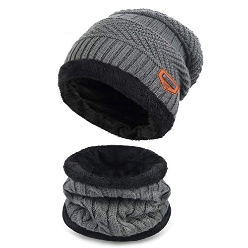 Supstar Kids Winter Warm Hat Circle Scarf 2Pcs Knitted Hat with Soft Fleece Lined Beanie Slouchy Skull Cap for Boys Girls (Gray)