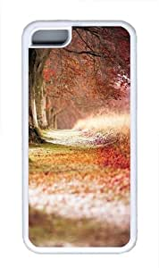 Forest Trees Path Fallen Leaves Custom iPhone 5C Case Cover TPU White