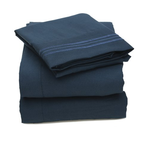 Sweet Home Collection 2000 All Size 12 Colors Collection 4-Piece Egyptian Quality Deep Pocket Bed Sheet Set, Queen, Navy