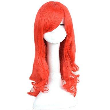 Fashion wigstyle angelaicos – Princesa Ariel la Sirenita rojo rizado largo peluca fiesta de Halloween Traje