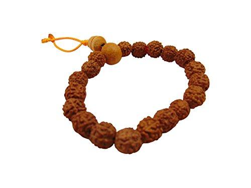 Dancing Buddha Wrist Mala Authentic Tibetan Rudraksha Prayer Beads Stretch Bracelet (Small)
