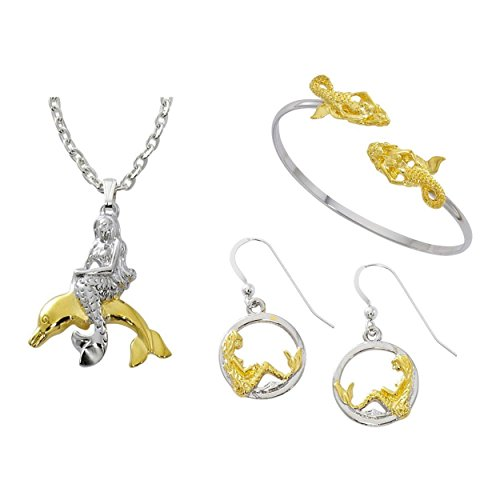 pricegems 'Mermaid On Dolphin' Two Tone Silver and 24k Gold Plating Pendant Necklace and Circle Hoop (24k Dolphins Earrings)