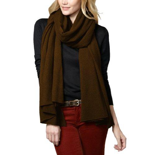 Parisbonbon Women's 100% Cashmere Classic Scarf Color Chocolate One Size by Parisbonbon (Image #2)