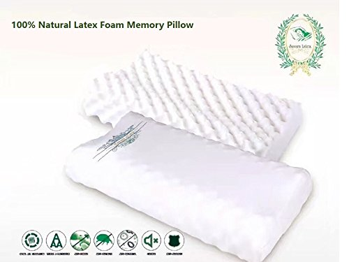 Natural Memory Latex Foam Pillow - Massage bump - Double Contour - Washable Soft Cotton Cover - Great for Neck Pain, Travel, Deep Sleep (Regular Size) by Survan Latex