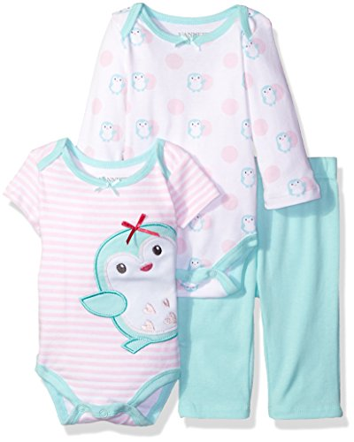 Nannette Girls' 3 Piece Tees and Pant Set with a Butt Applique, Penguin, 3-6 Months