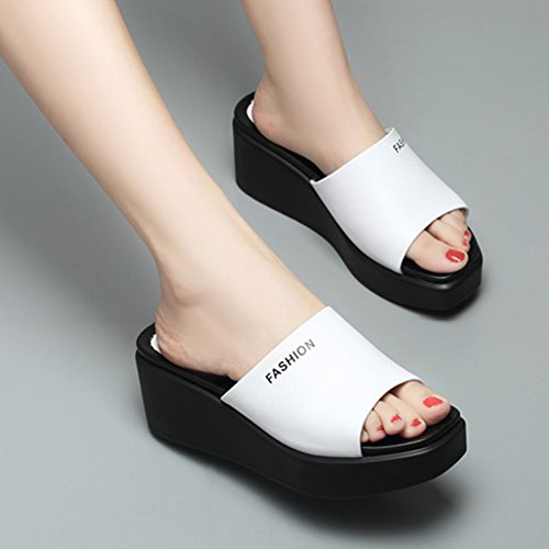 Shoes Sandals Summer Leather Bottom Woman Slope Slippers Outer Thick White ZCJB High Heel Wear Fashion Casual BrBw6