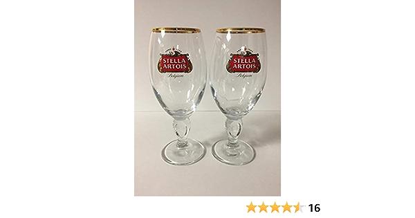 6 NEW STELLA ARTOIS BELGIUM BEER 40CL 14oz TASTER GLASS GOLD RIM