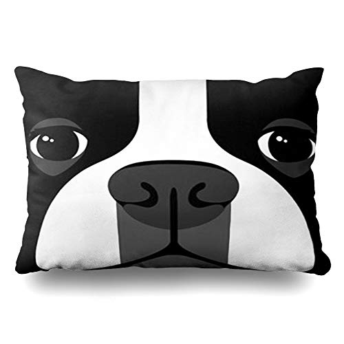 (InnoDIY Throw Pillow Covers Jacquard Black White Dog Boston Terrier Pillowslip Queen Size 20