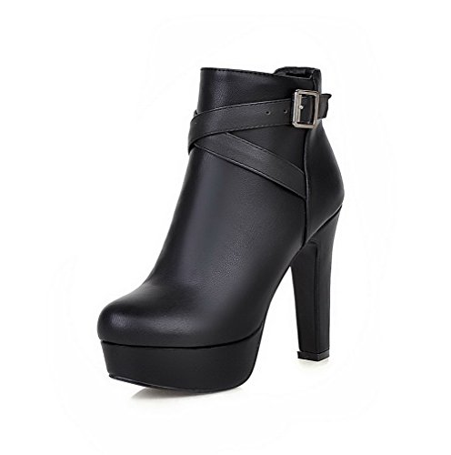AgooLar Damen Niedrig-Spitze Reißverschluss Blend-Materialien Hoher Absatz Stiefel, Gelb, 37