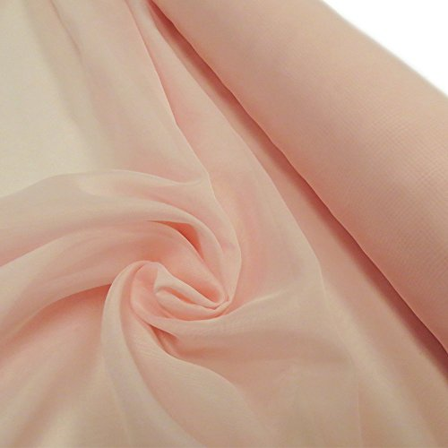 Polyester Voile Fabric, Sheer-118 Inches Wide, Over 100 Yards in Stock - 100% Polyester - Light Pink ()