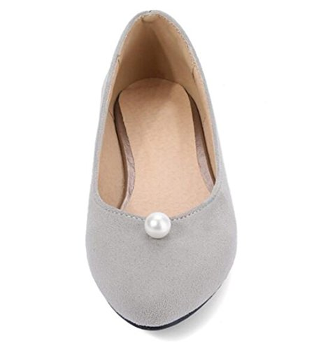 Easemax Womens Elegant Faux Suede Beads Round Toe Low Top Slip On Flat Shoes Gray bTXHYN