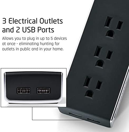 Joule Surge Protector Power Strip with 3 Outlets and 2 USB Ports Portable for Travel, Hotel, Home, and Office Use