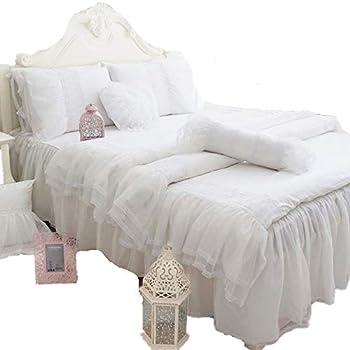 Image of Abreeze Lovely Romantic Style Black Lace Princess Bedding Set Lace Design Ruffle Duvet Cover Sets Cotton Bed Skirt Full Size 4Pcs