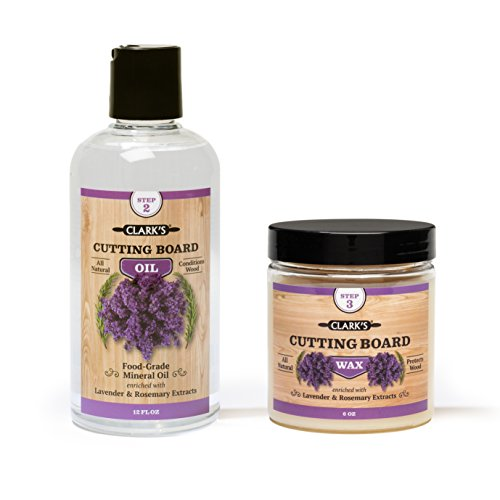 - CLARK'S Cutting Board Oil & Wax (2 Bottle Set) | Includes CLARK'S Cutting Board Oil (12oz) & CLARK'S Finish Wax (6oz) | Lavender & Rosemary Scent