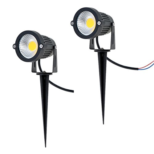Familite Outdoor Waterproof Decorative Spotlight-6W COB LED Landscape Path Light AC/DC 12V with Spiked Stand, Pack of 2 (Warm White (Low Voltage Led Lights)