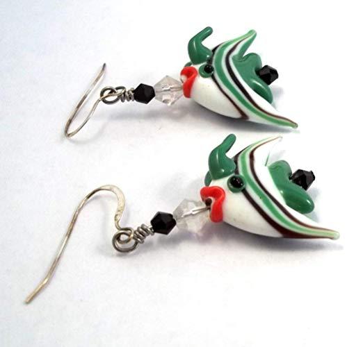 Green and White Angel Fish Lampwork Dangle Earrings ()