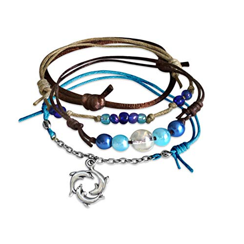 O Yeah Gifts Dolphin Ring Bracelet 4 Stackable Cord Bracelets Adjustable Ocean Jewelry Set with Turquoise Aqua Blue Glass Beads Link Chain and Beautiful Silver Dolphin Charm