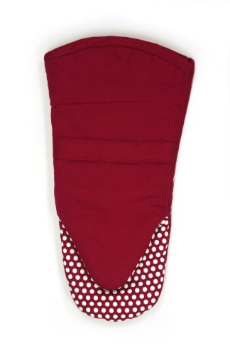 will Puppet Oven Mitt with Silicone Dot Non-Slip Grip, 13-inch, Paprika Red (Dot Pot Mitt)