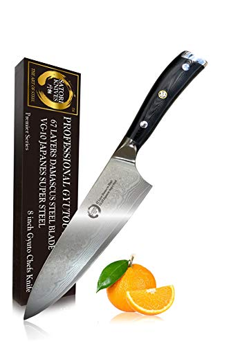 Stamped Fillet 8 Inch Knife - Koto Satori 8 inch Professional Chef's Knife - 67 Layers Damascus Blade, Japanese VG-10 Stainless Steel Chef Knife With Ergonomic Handle, Full Tang, Premium Packaging