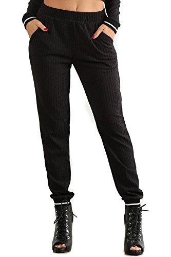 Cassandra - Grey Ribbed Tracksuit Jogger Elastic Waistband Sweatpants (Flirtatious Stripe)