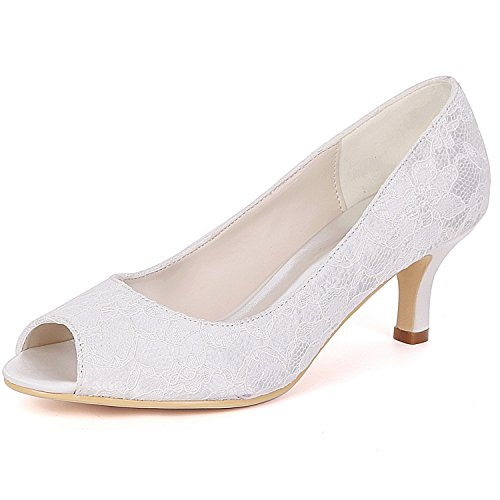 L@YC Women Wedding Shoes Bridesmaids Evening 6cm Heel Stiletto Peep Toes Mid High Heels Bridal Ivory