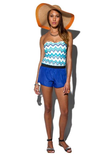 G2 Chic Women's Elastic High-Waist A-Line Cropped Mini Party Shorts(BTM-SHT,BLU-M)