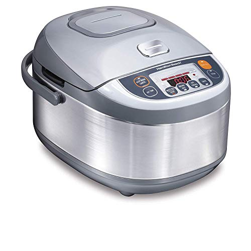 Hamilton Beach 37570 Advanced Multi-Function, Fuzzy Logic Rice Cooker, 3.5 Quart, Stainless Steel