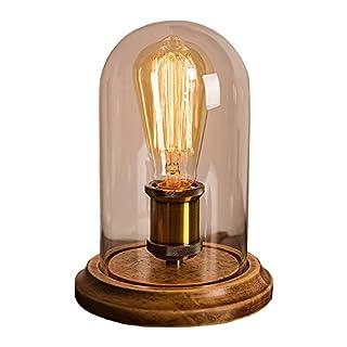 Surpars House Vintage Desk Lamp Glass Shade Table Lamp Edison Bulb Included