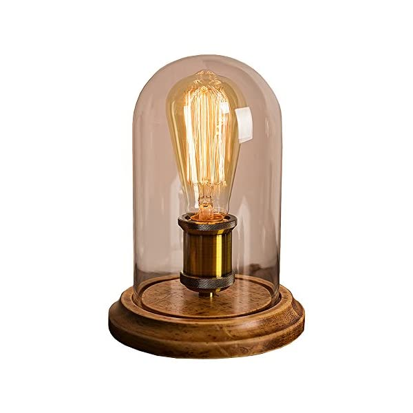 Surpars House Vintage Desk Lamp Glass Shade Table Lamp Edison Bulb Included 3