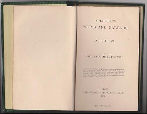 Téléchargez des manuels gratuitement en ligne Swinburne's poems and ballads: A criticism by William Michael Rossetti PDF PDB CHM