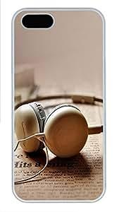 iPhone 5 5S Case Ear Plug PC Custom iPhone 5 5S Case Cover White