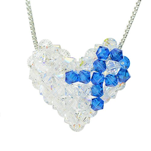 Sunchains Sterling Silver and Swarovski Crystal Colon Cancer Awareness Woven Puffy Heart Necklace