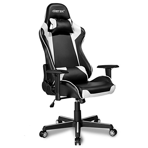 Price comparison product image Merax Office Chair Executive Racing Gaming Chair Swivel PU Leather Chair with Wide Armrests (black and white)