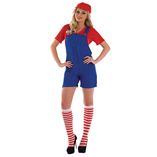 Mario Costume Woman (Womens Luigi Costume Mario Bros Green Plumber Brothers Overalls Outfit -)