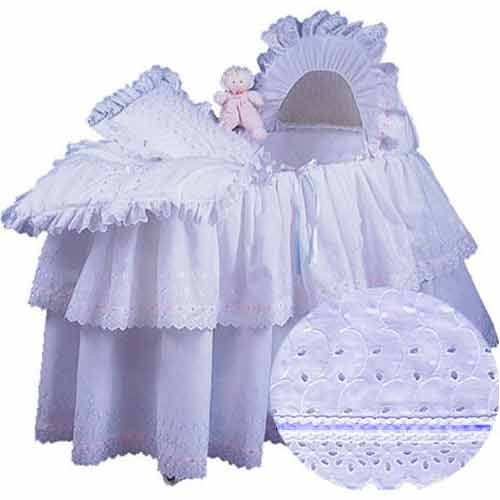 aBaby Little Angel Bassinet Skirt, Blue, Small