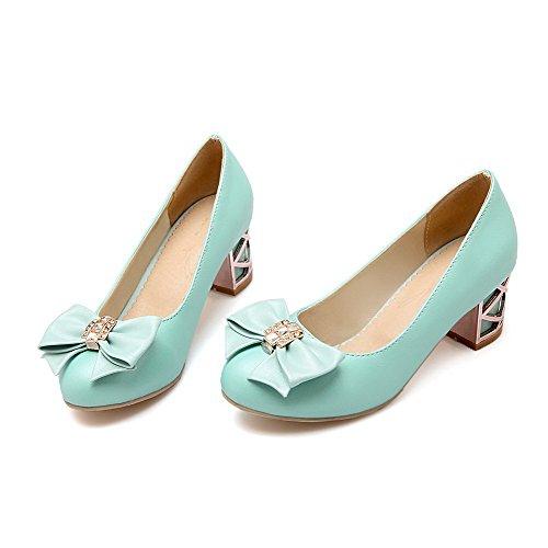 AllhqFashion Damen Rein PU Leder Mittler Absatz Rund Zehe Ziehen auf Pumps Schuhe Blau