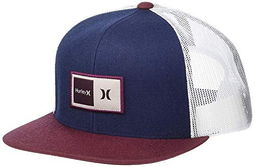 Hurley Men's Natural Trucker Hat, Obsidian/Red, Qty