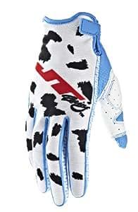 JT Racing USA Limited Edition Dalmatian Dirt Bike Motocross Gloves (White/Cyan Blue, X-Small)