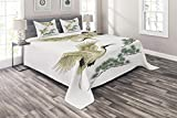 Eastern King Size Bedspreads Lunarable Bird Coverlet Set King Size, Two Japanese Cranes Flying Traditional Painting Style Far Eastern Illustration, 3 Piece Decorative Quilted Bedspread Set with 2 Pillow Shams, Ivory Green Black