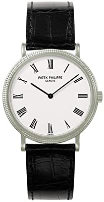 Patek Philippe Calatrava White Dial 18 kt White Gold Mens Watch 5120G