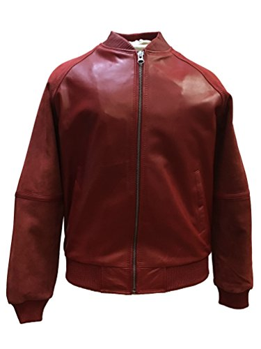 Men Real Leather Varsity Jacket with Suede SleevesBomber Baseball Jacket Many Colors (X-Large, Red) (Jacket Varsity Suede Leather)