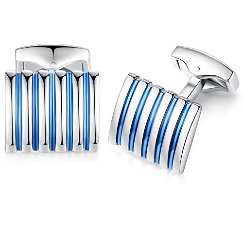 Honey Bear Rectangle Striped Cufflinks for Mens - Stainless Steel, for Business Wedding Gift,Blue with Silver